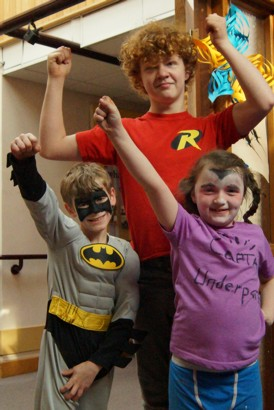 Cain, Lucais and Katie, superheroes